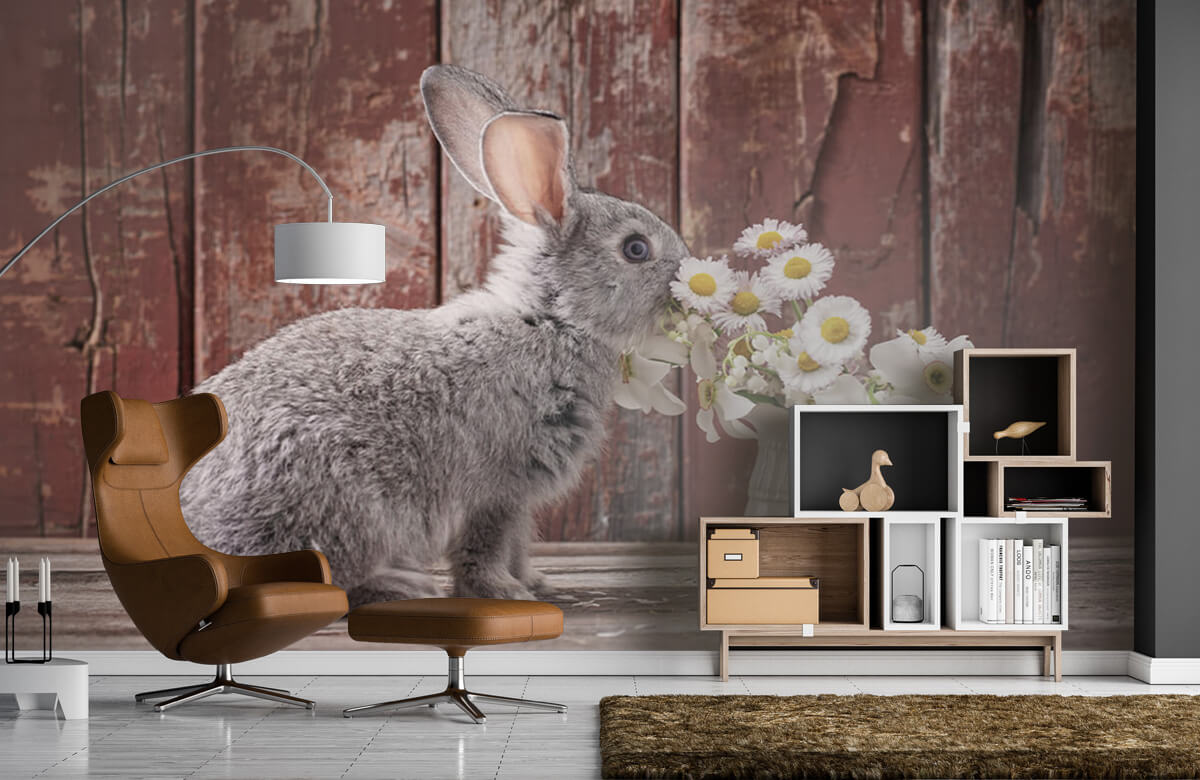 Wallpaper Rabbit with daisies 8
