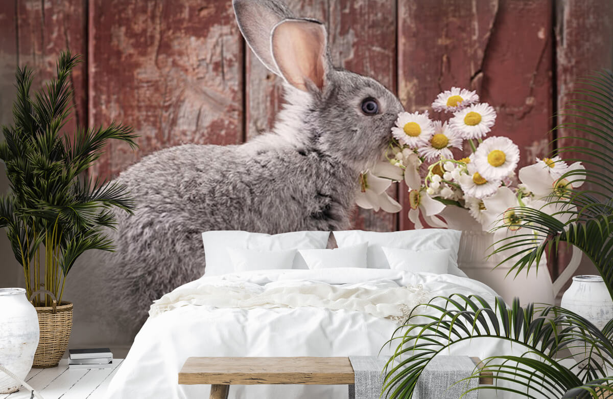 Wallpaper Rabbit with daisies 5