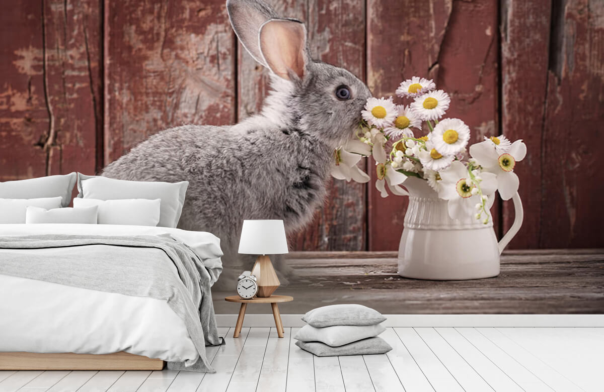 Wallpaper Rabbit with daisies 2