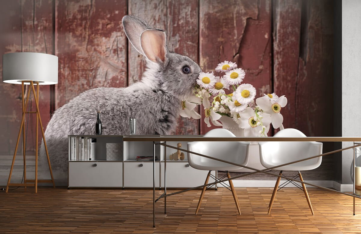 Wallpaper Rabbit with daisies 11