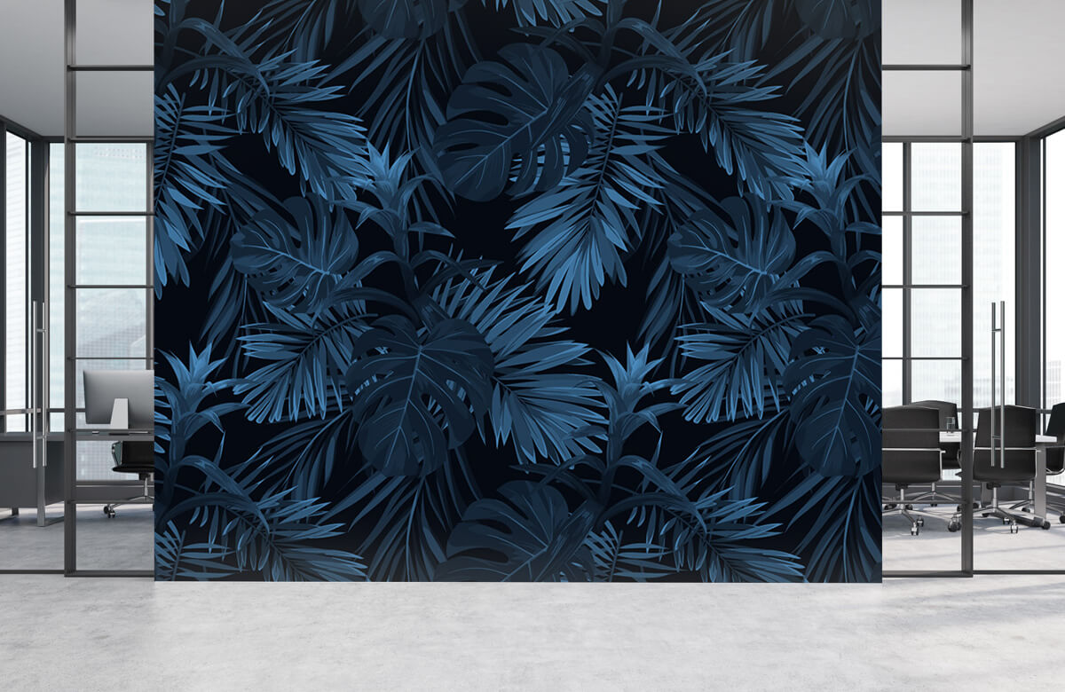 pattern Blue tropical leaves 1