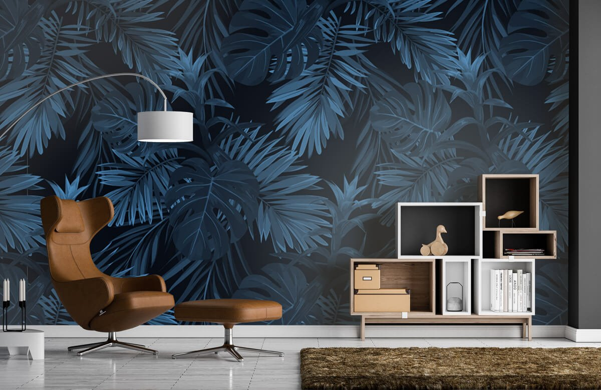 pattern Blue tropical leaves 3