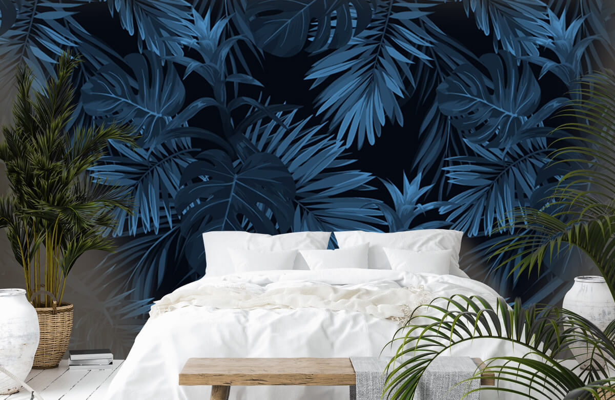 pattern Blue tropical leaves 7