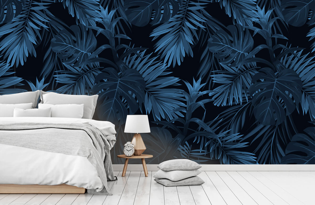 pattern Blue tropical leaves 8