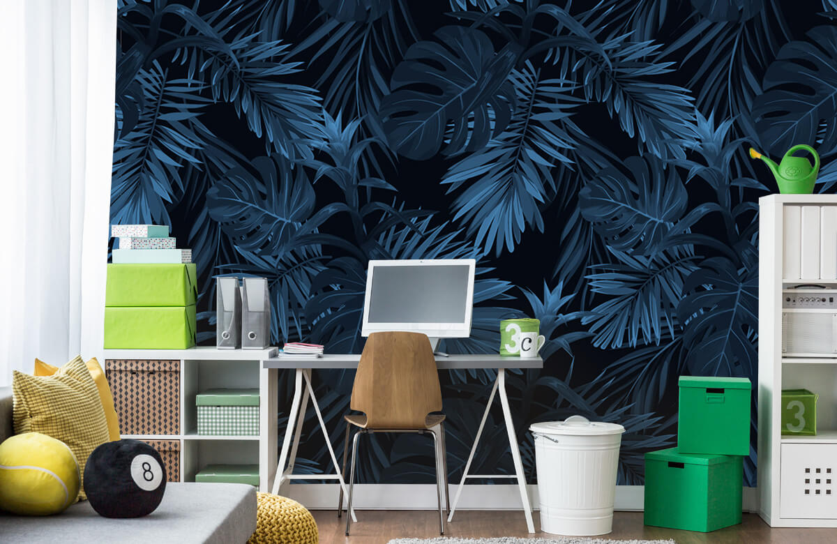pattern Blue tropical leaves 10