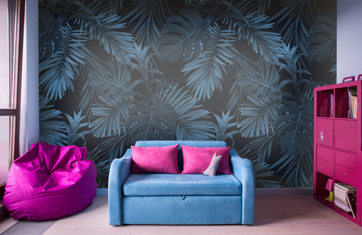 pattern Blue tropical leaves 4