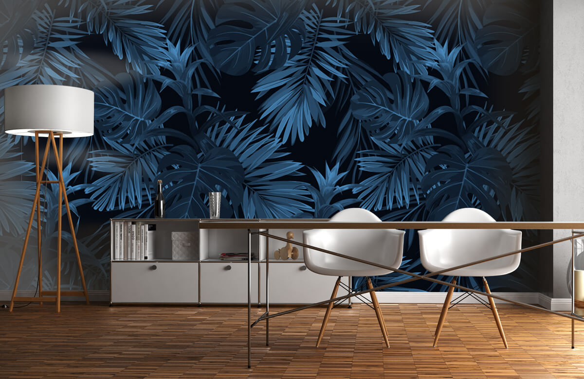 pattern Blue tropical leaves 11