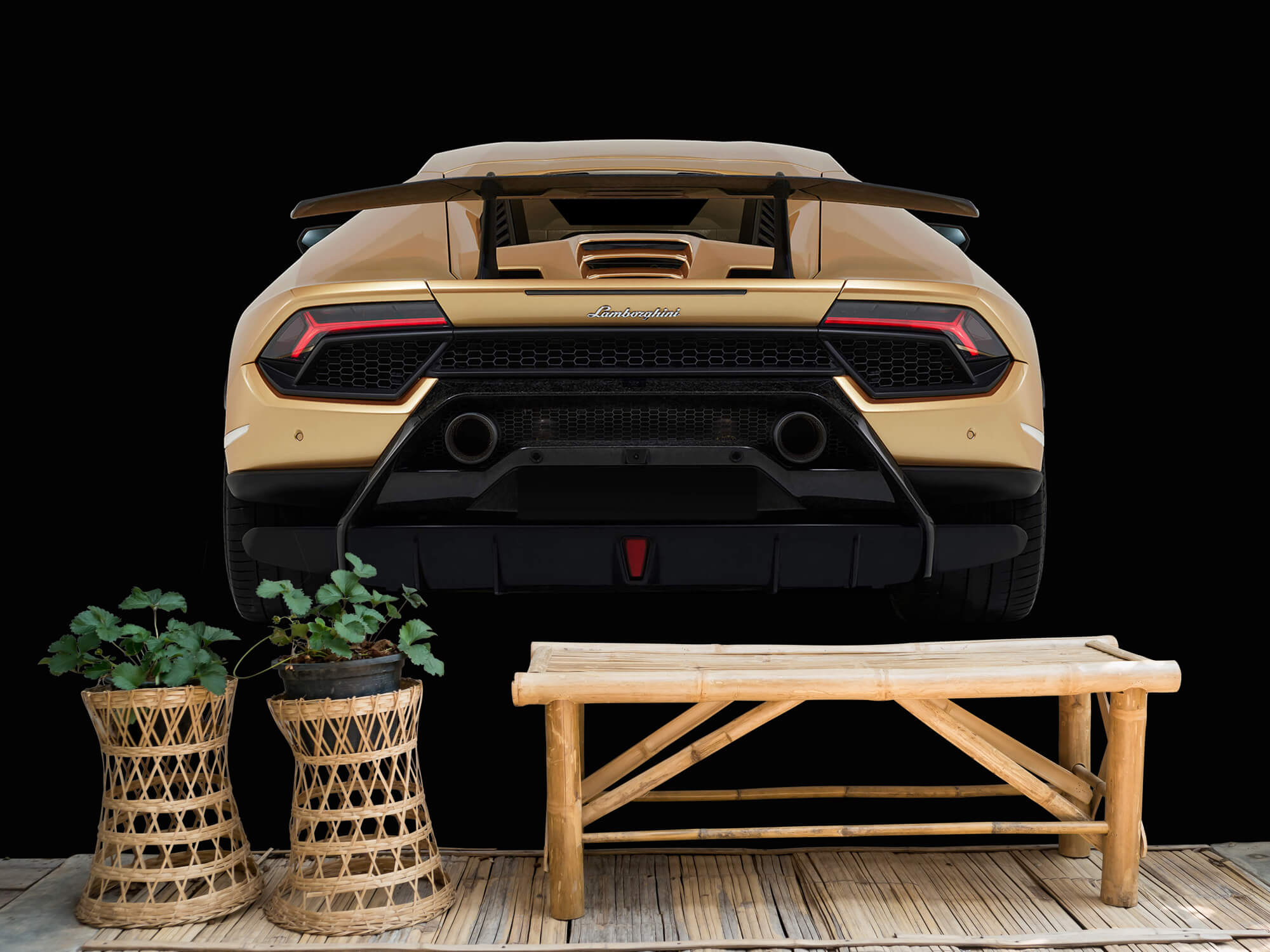 Wallpaper Lamborghini Huracán - Rear view, black 3