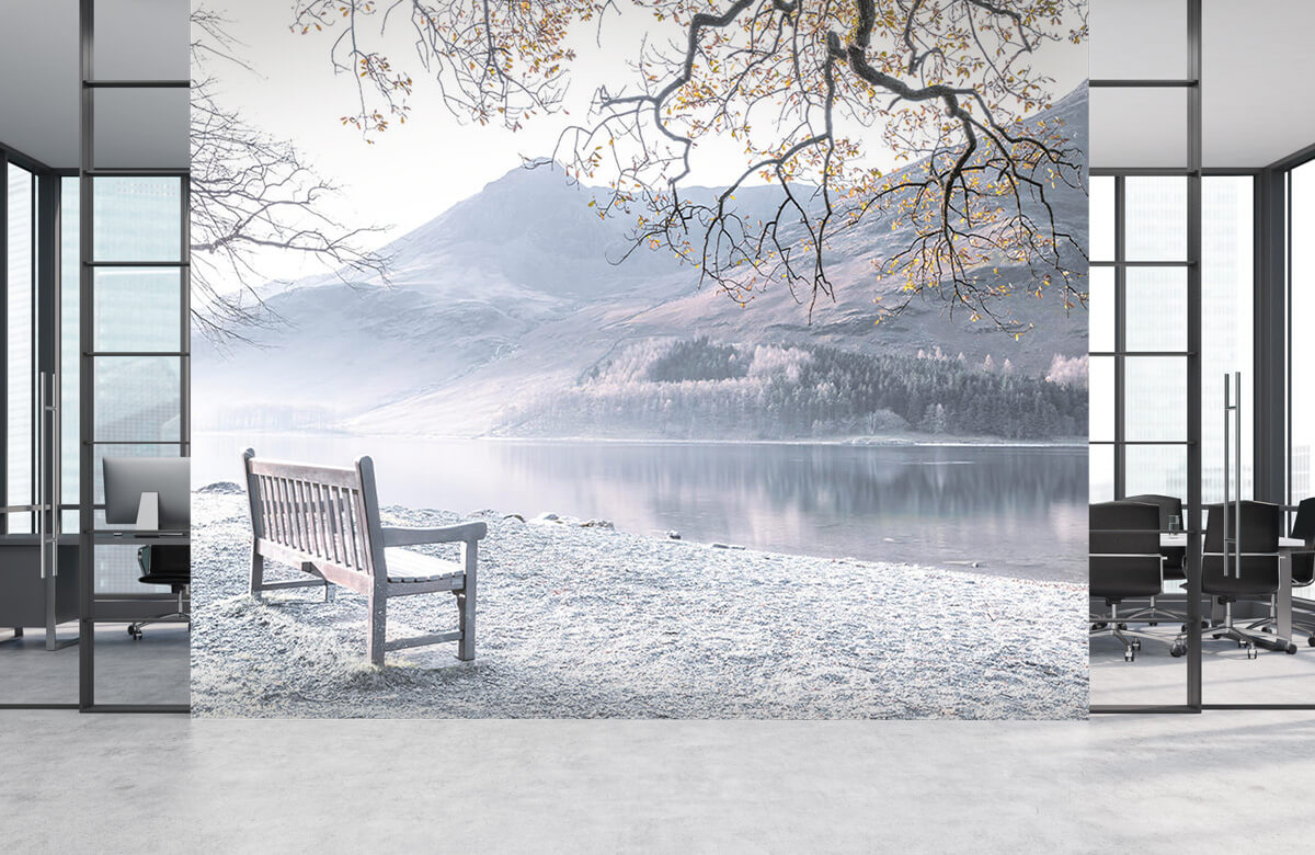 Bench by a quiet lake 4