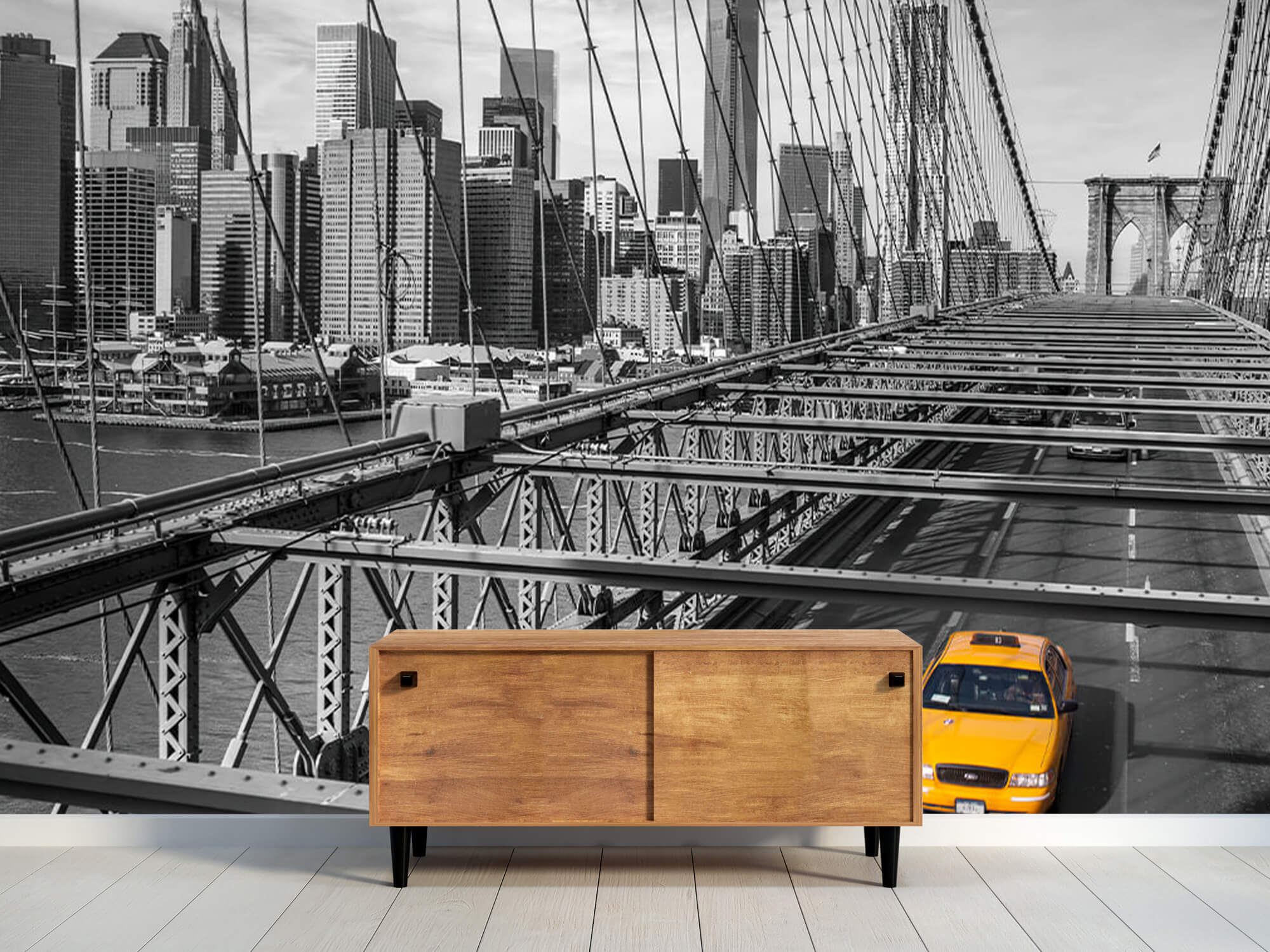 A taxi across the Brooklyn Bridge 11