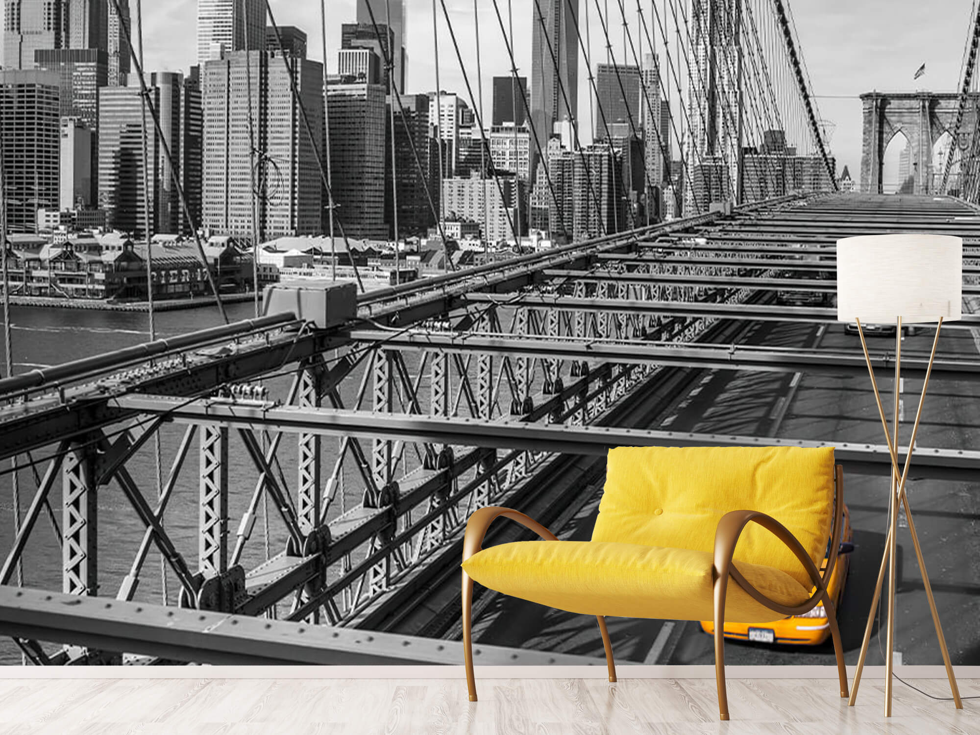 A taxi across the Brooklyn Bridge 16