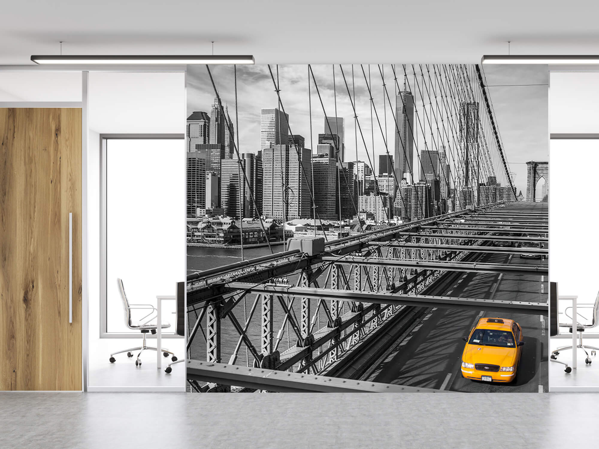 A taxi across the Brooklyn Bridge 8