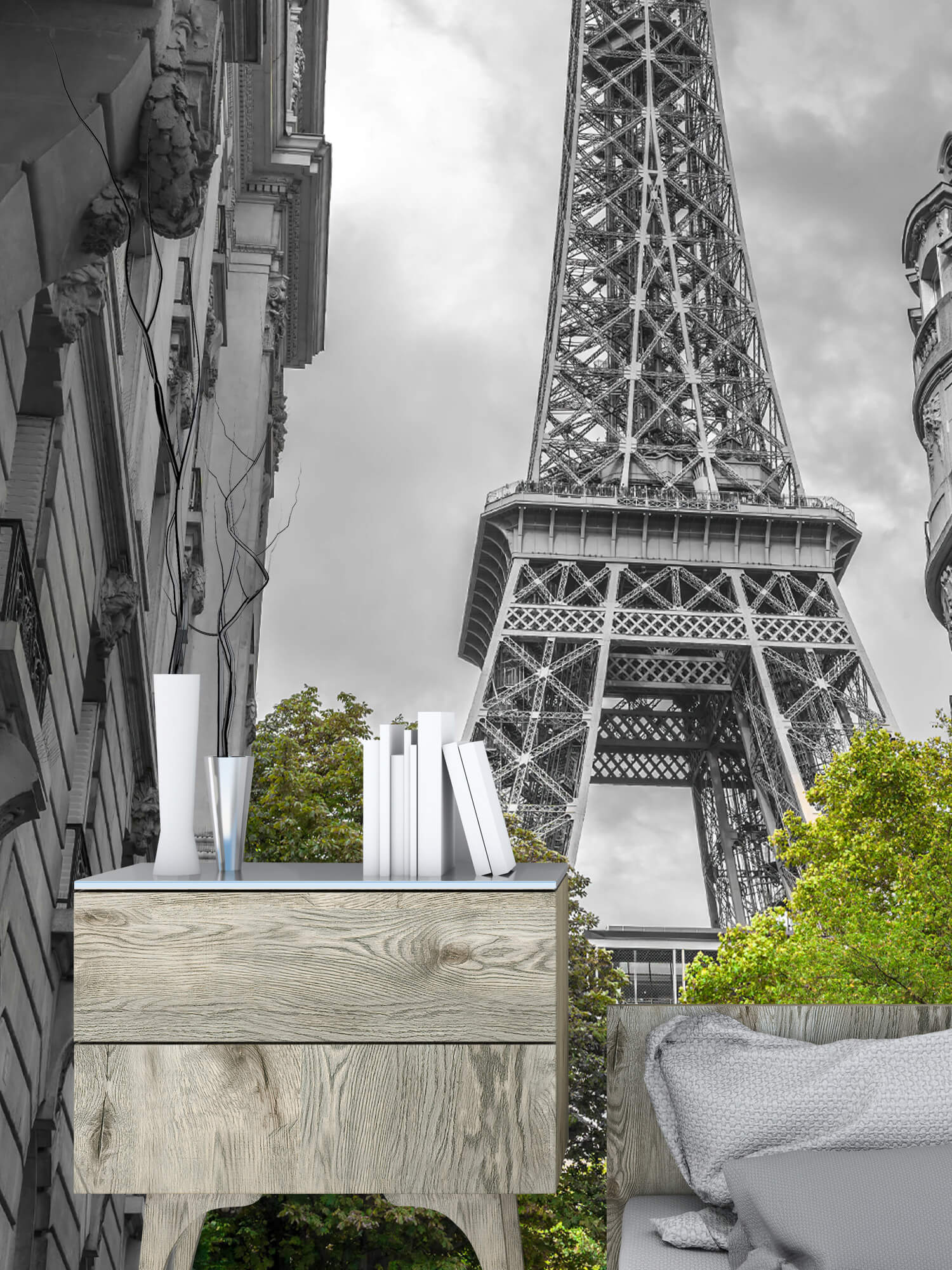 Eiffel Tower black and white 10