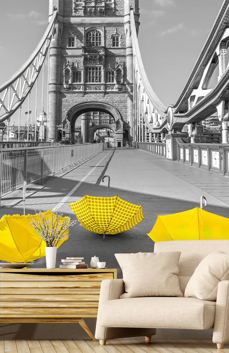 Yellow umbrellas on Tower bridge 3
