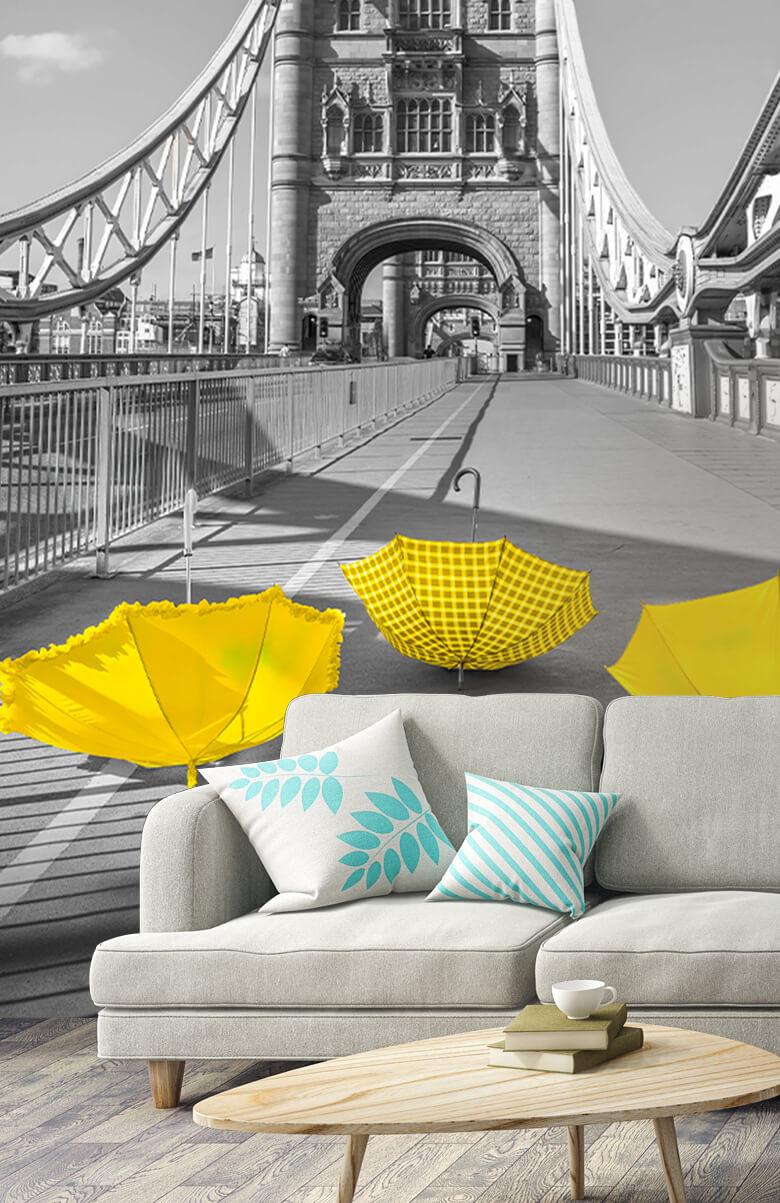 Yellow umbrellas on Tower bridge 7
