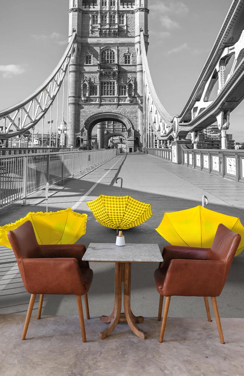 Yellow umbrellas on Tower bridge 2