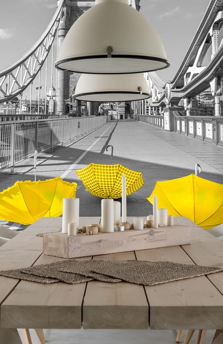 Yellow umbrellas on Tower bridge 8
