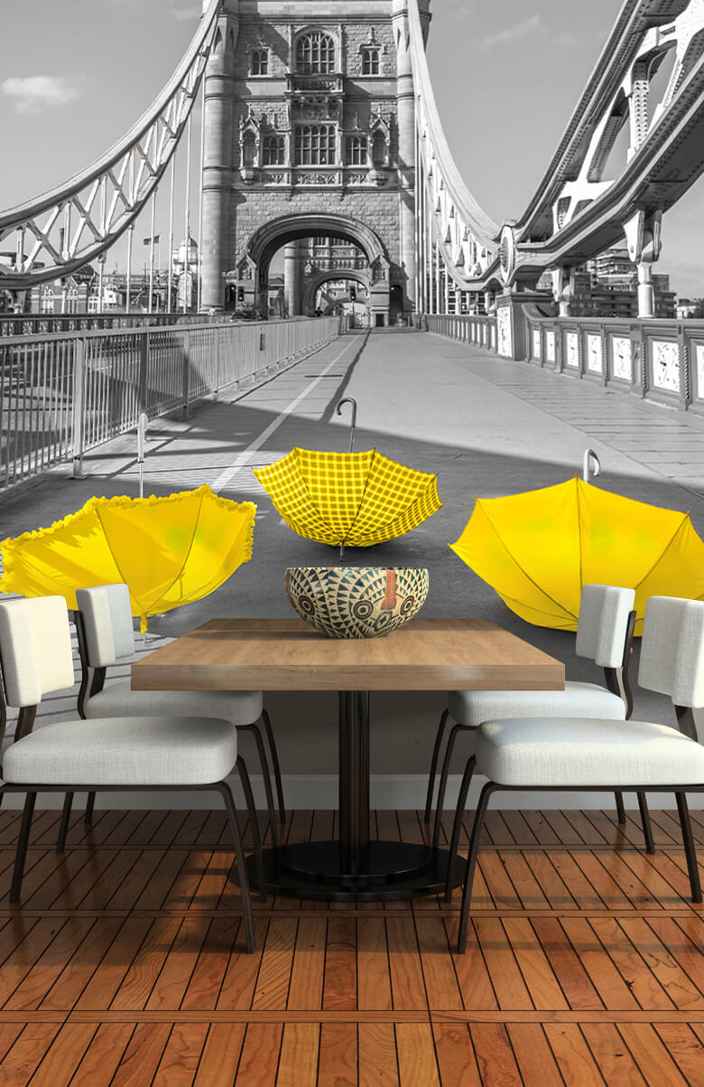 Yellow umbrellas on Tower bridge 10