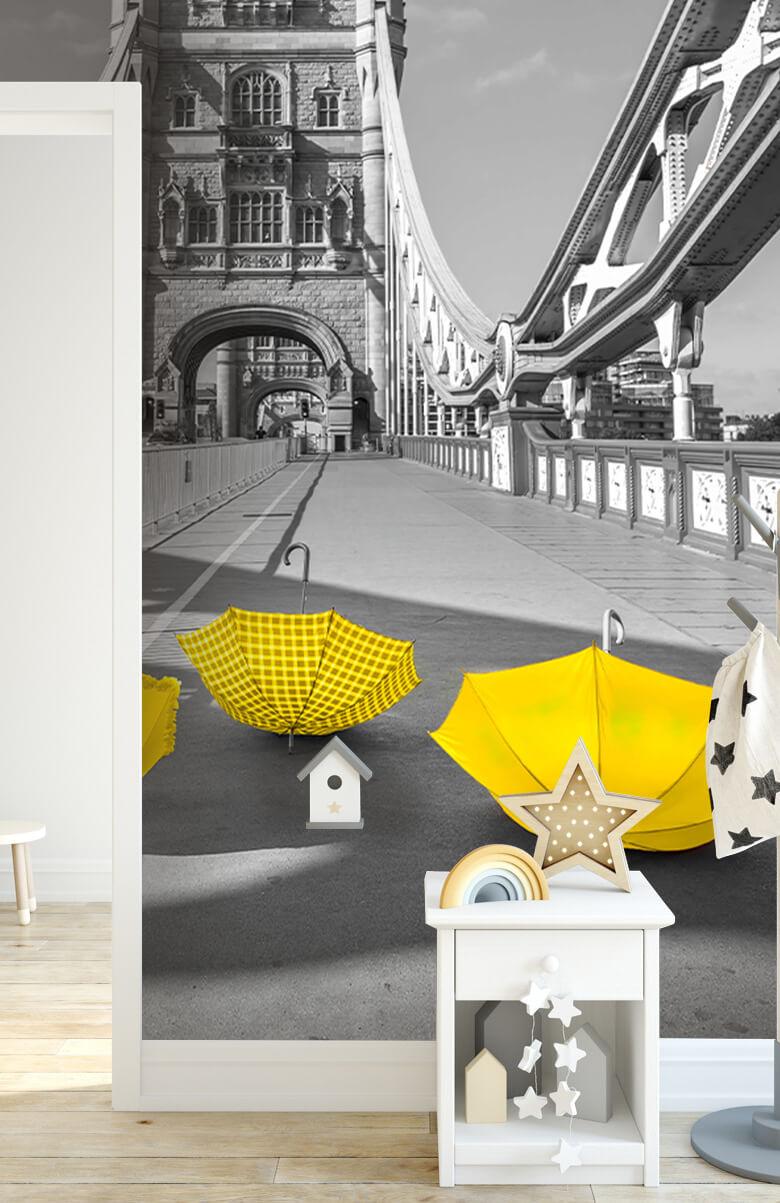 Yellow umbrellas on Tower bridge 5