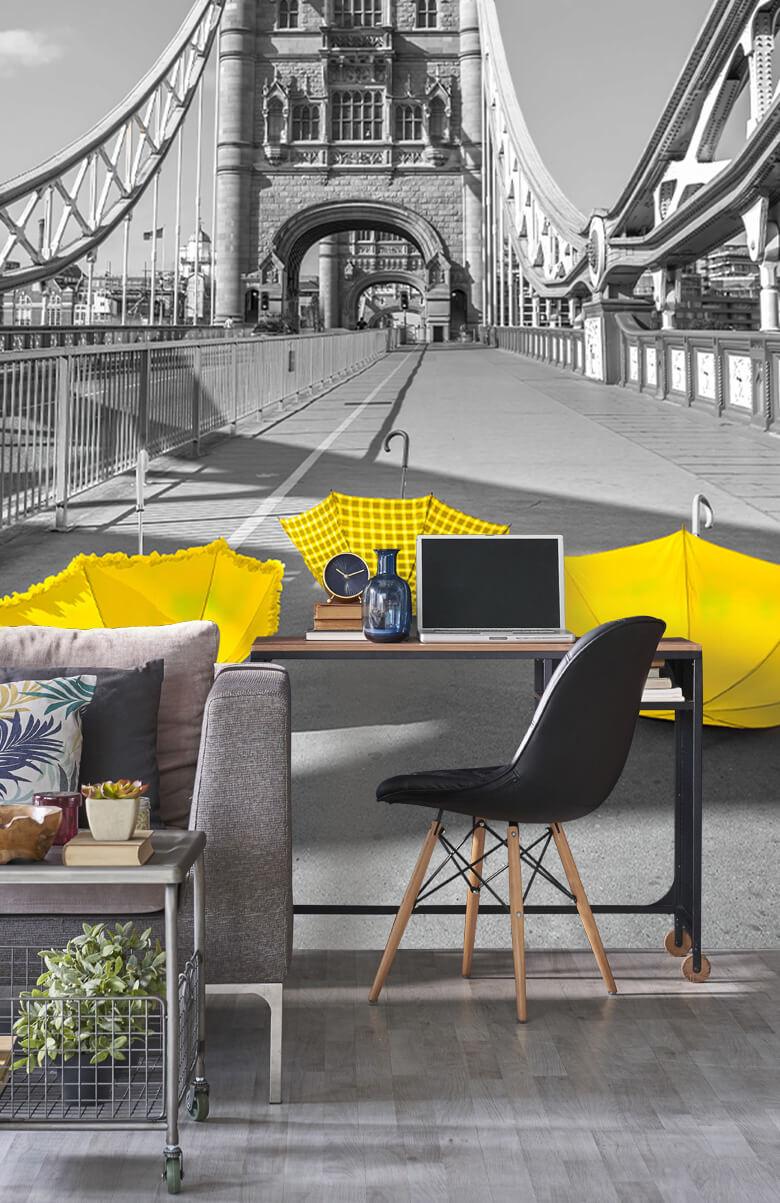 Yellow umbrellas on Tower bridge 11