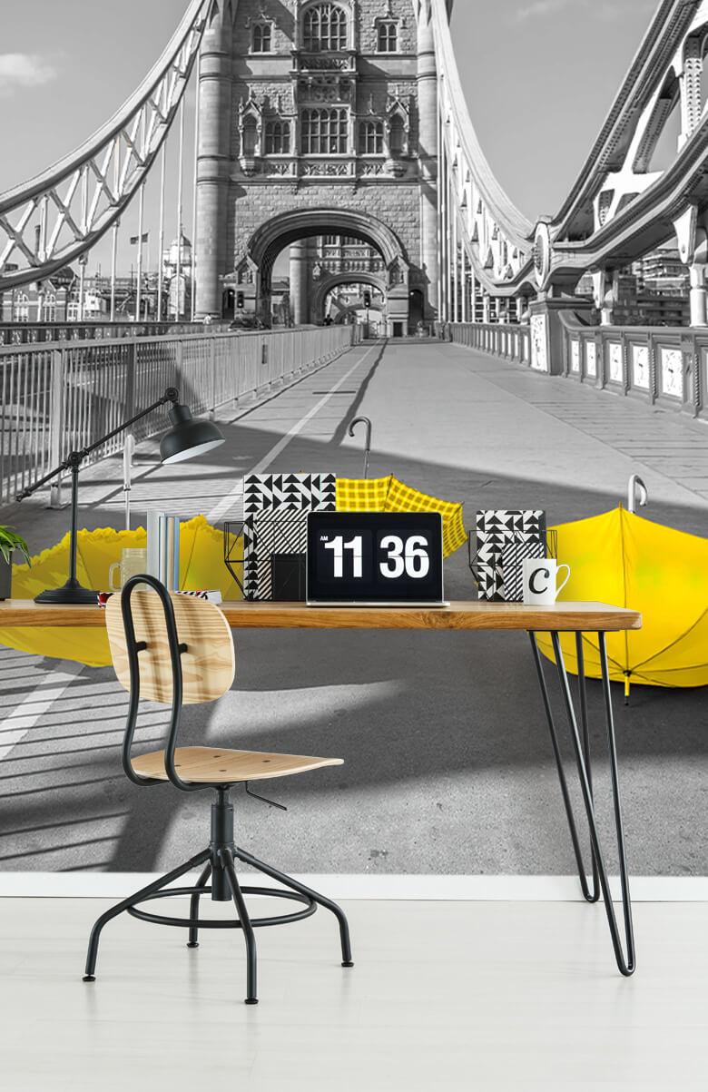 Yellow umbrellas on Tower bridge 12