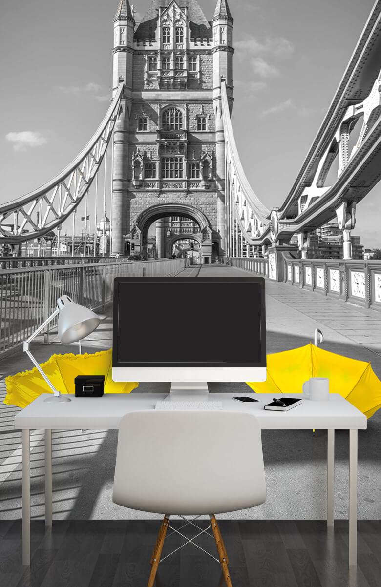 Yellow umbrellas on Tower bridge 13