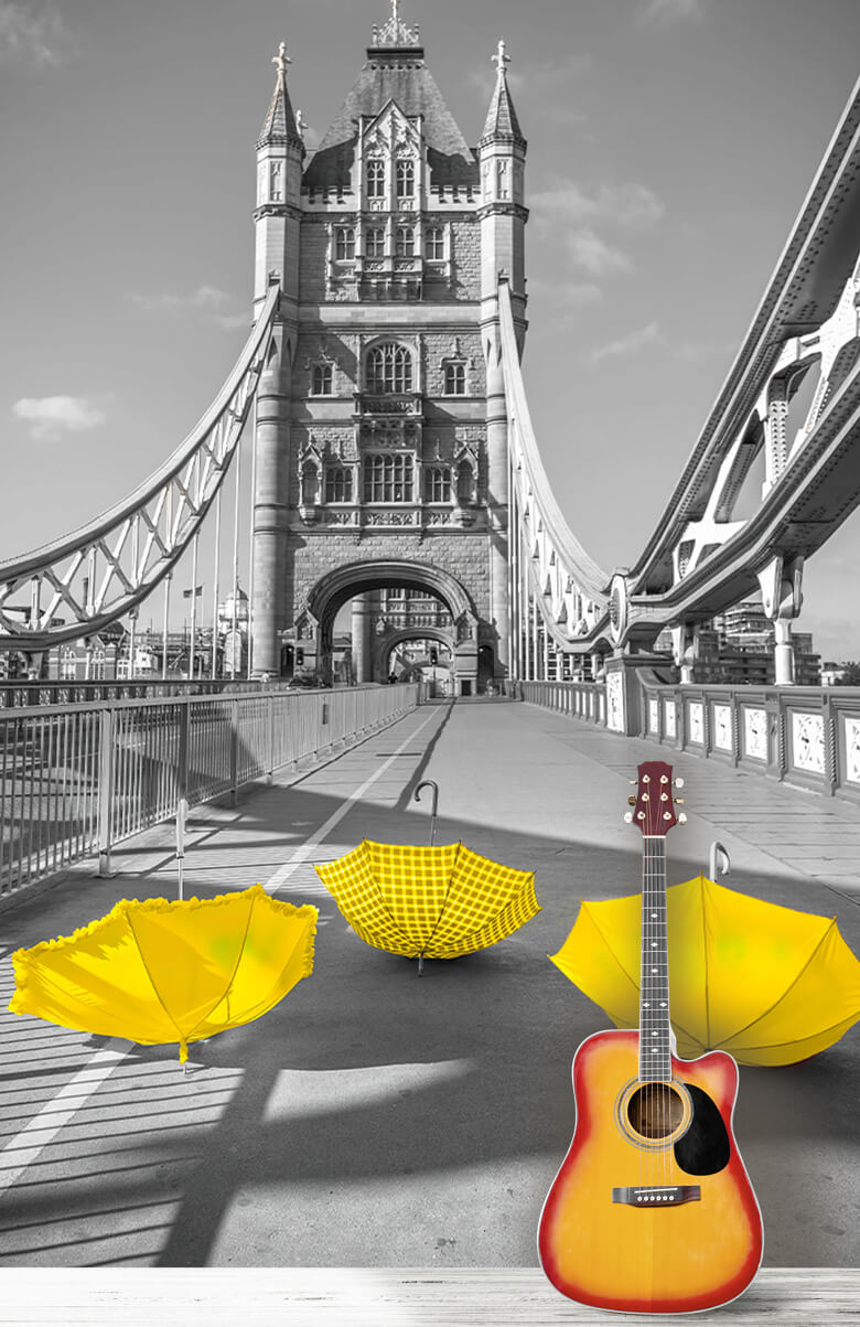 Yellow umbrellas on Tower bridge 1