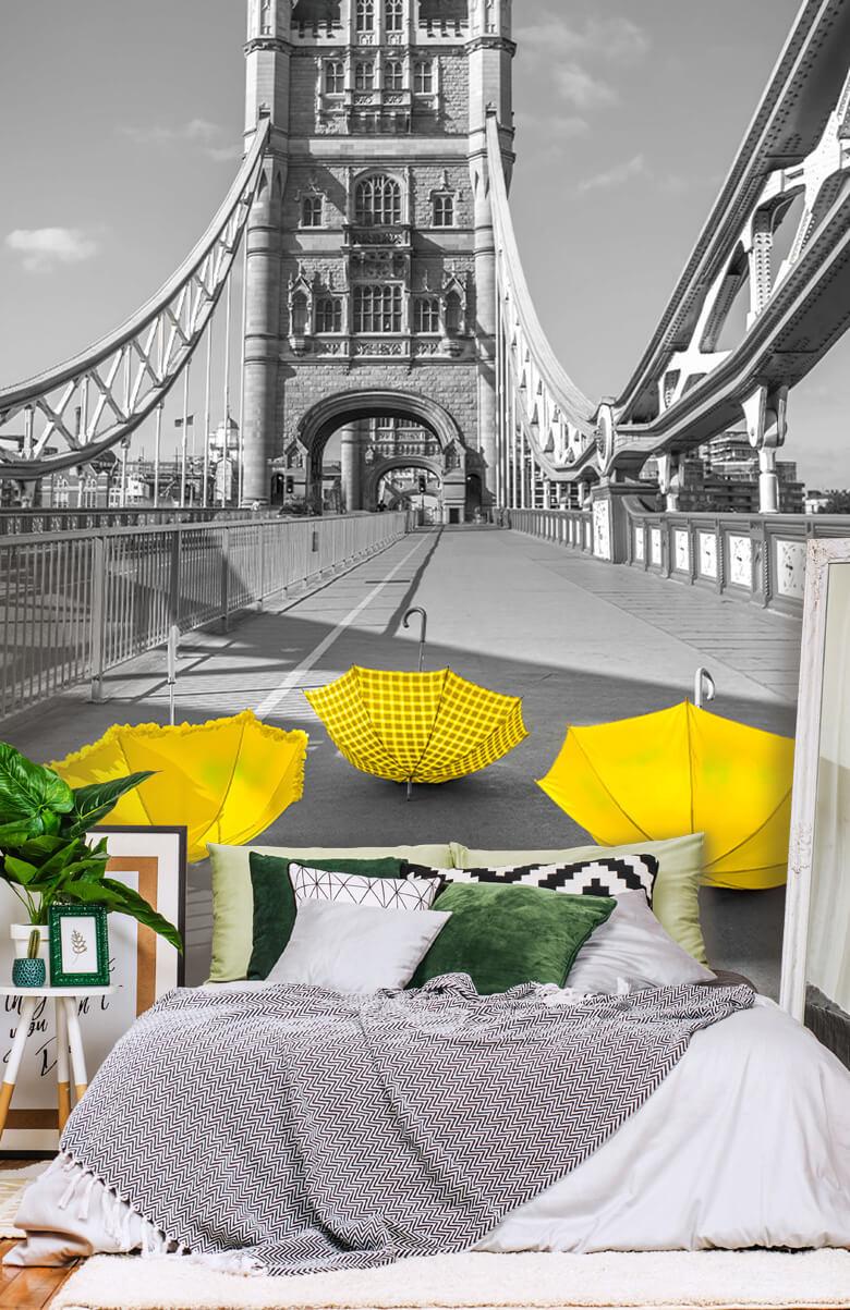 Yellow umbrellas on Tower bridge 14