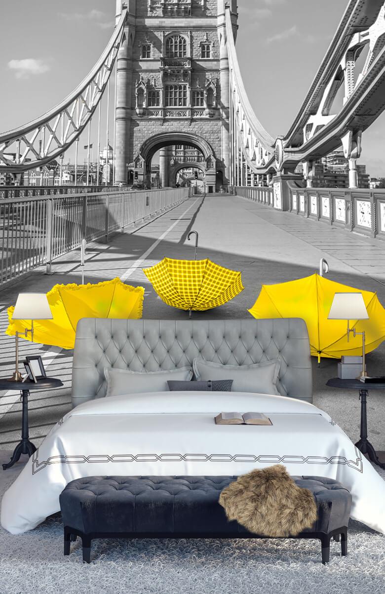 Yellow umbrellas on Tower bridge 6