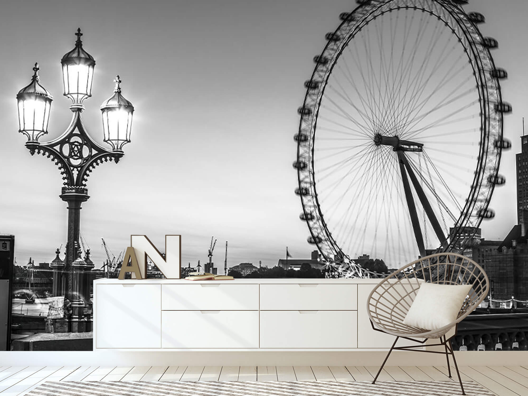 Ferris wheel black and white 5