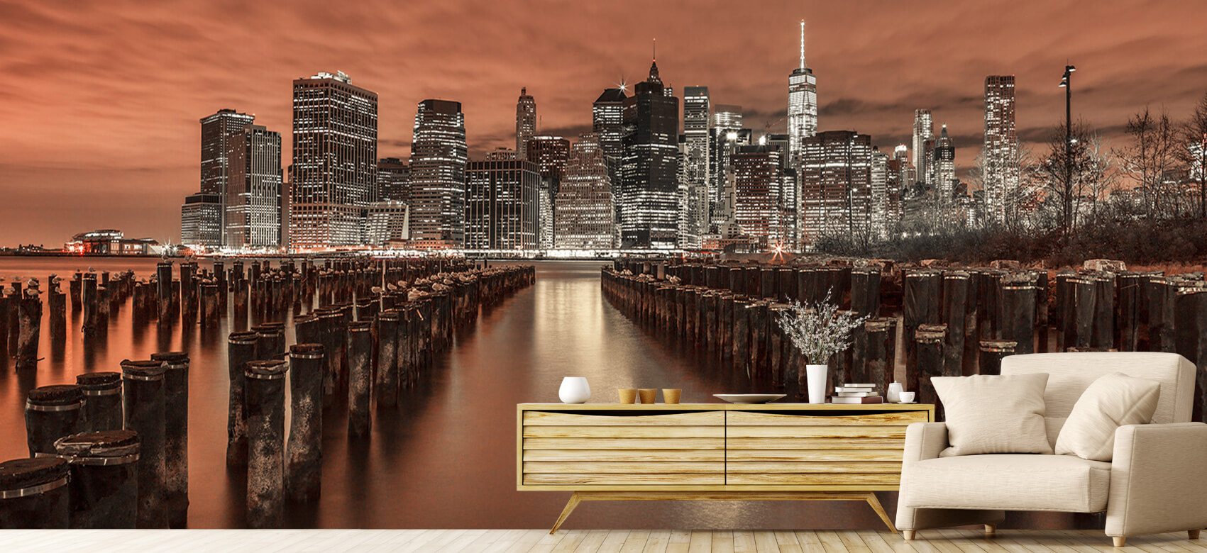Manhattan skyline with breakwaters 4