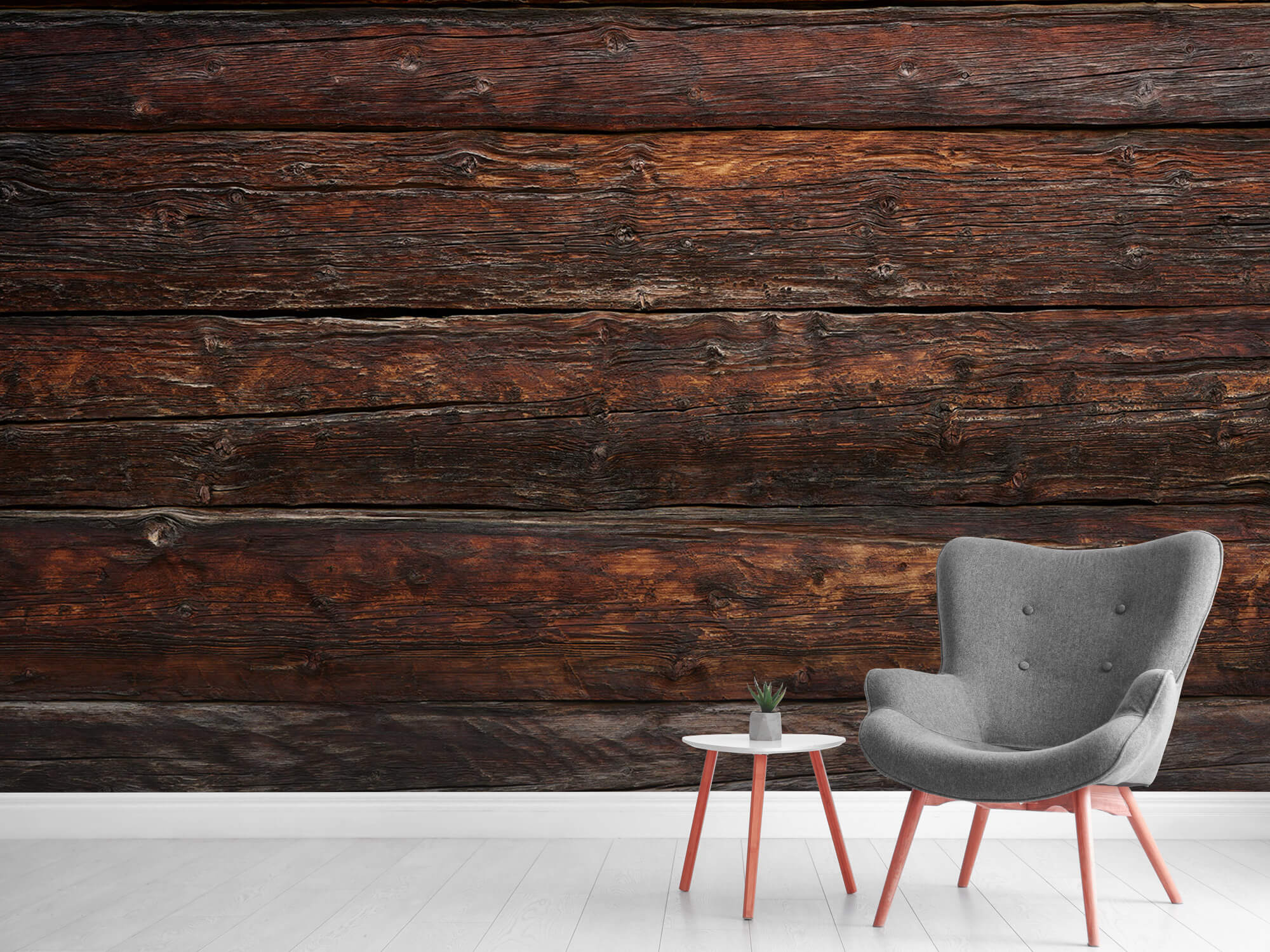 Wooden wallpaper - Coarse wood - Bedroom 11