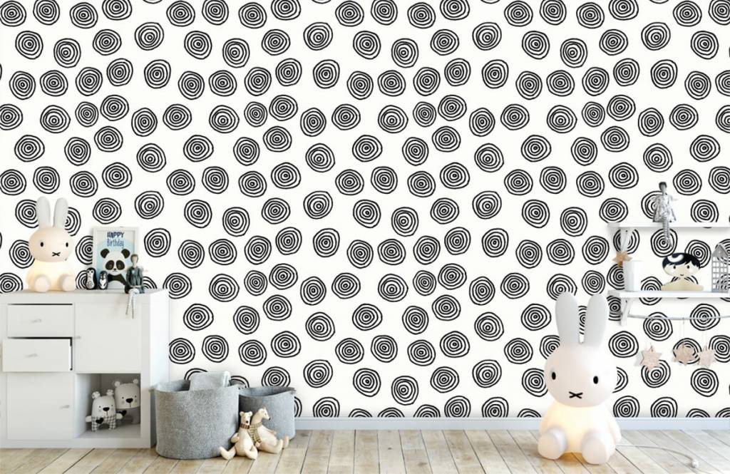 Abstract - Abstract circles in black and white - Hobby room 1