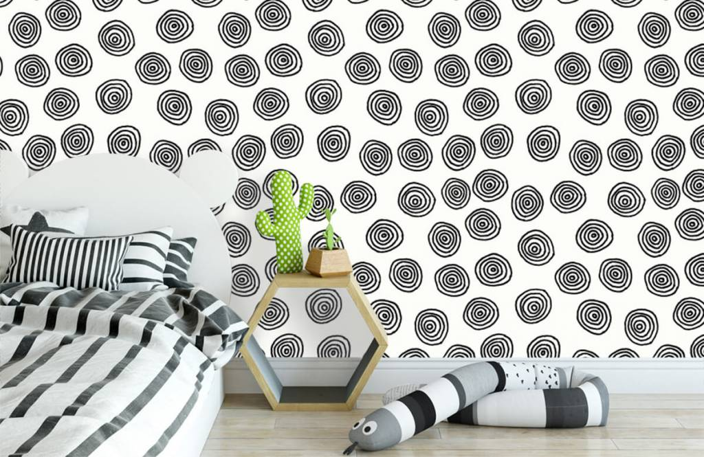 Abstract - Abstract circles in black and white - Hobby room 3
