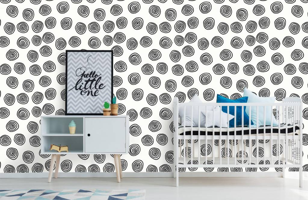 Abstract - Abstract circles in black and white - Hobby room 6